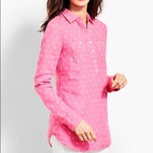 TALBOTS Pink Linen Popover Camp Shirt